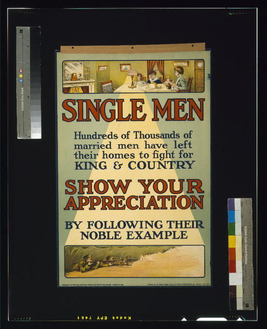 Single men. Hundreds of thousands of married men have left their homes to fight for king and country. Show your appreciation by following their noble example / printed by the Abbey Press, 32 & 34 Gt. Peter St., Westminster, S.W.