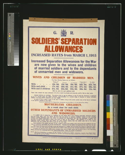 Soldiers' separation allowances. Increased rates from March 1, 1915 / H. W. & V. Ld.