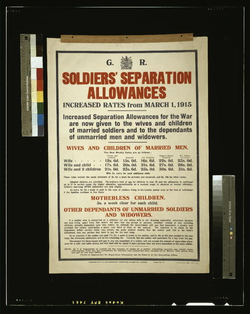 Soldiers' separation allowances. Increased rates from March 1, 1915 [...] / H. W. & V. Ld.