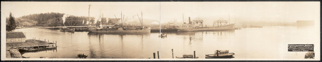 Steamships Adeline Smith, Nann Smith and Redondo loading at the mills of the C. A. Smith Lumber and Manufacturing Co., Marshfield, Oregon