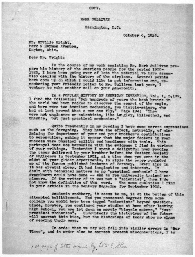 Subject File:  Smithsonian Institution--Dispute--Correspondence, 1915, 1921-1929