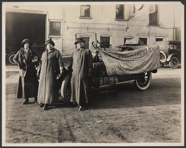 [Suffrage envoy Sara Bard Field (left) and her driver, Maria Kindberg (center), and machinist Ingeborg Kindstedt (right) during their cross-country journey to present suffrage petitions to Congress, September-December 1915.]