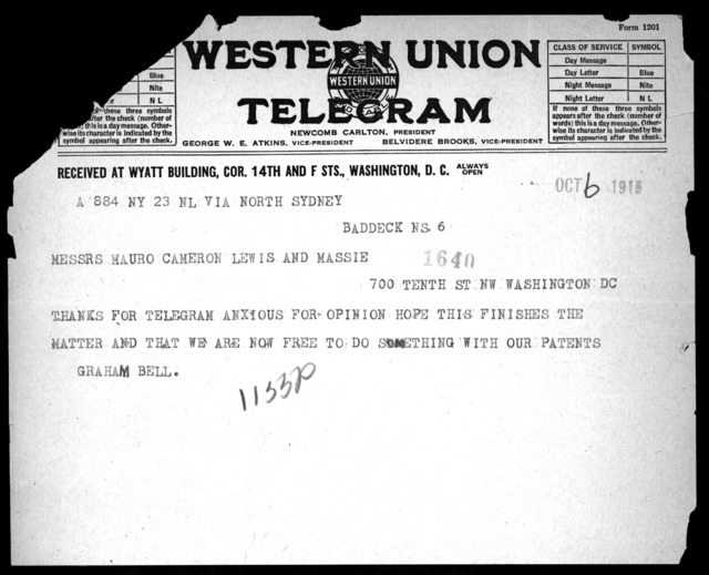 Telegram from Alexander Graham Bell to Mauro, Cameron, Lewis & Massie, October 6, 1915