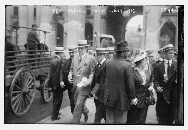 Thaw Leaving Court -- Jul 1915