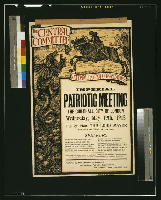 The Central Committee for National Patriotic Organizations imperial patriotic meeting, The Guildhall, City of London, Wednesday, May 19th, 1915 / J.K.S. ; printed by The Press Printers, Ltd., 69-76, Long Acre, London.