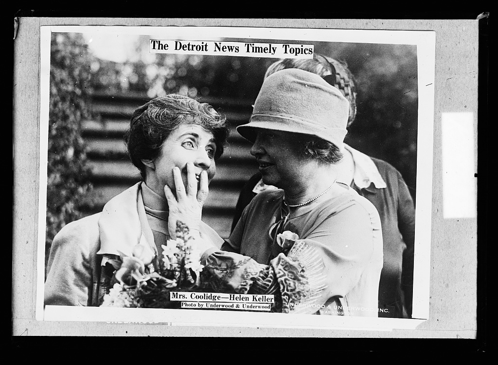 The Detroit news topics.  Mrs. Coolidge, Helen Keller
