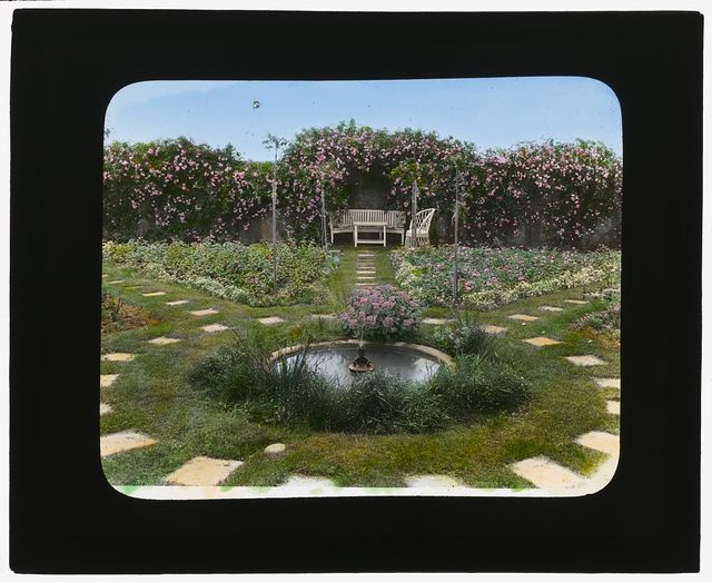"[""The Dunes,"" Frank Bestow Wiborg house, Highway Behind the Pond, East Hampton, New York. Fountain in pool]"
