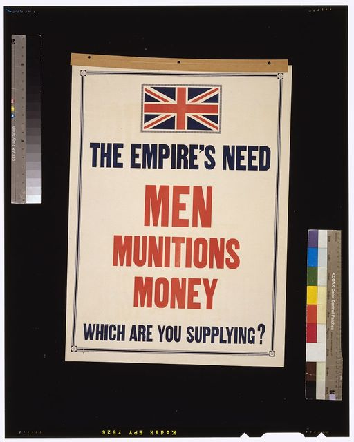 The Empire's need. Men, munitions, money. Which are you supplying?