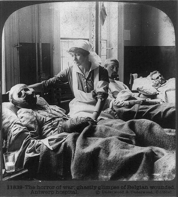 The horror of war, ghastly glimpse of Belgian wounded, Antwerp hospital