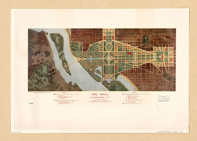 The Mall, Washington, D.C. : plan showing building development to 1915 in accordance with the recommendations of the Park Commission of 1901.