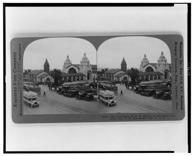 The New Sante [sic] Fe R.R. station on Broadway and Arctic Sts., N.W., San Diego, Calif., U.S.A.