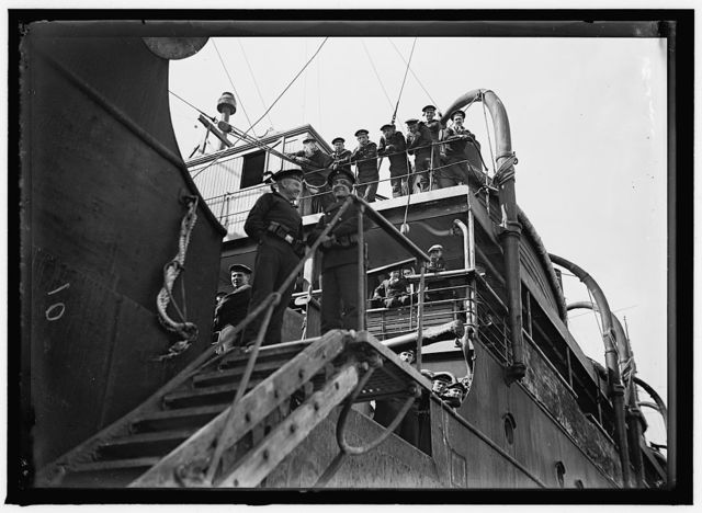 UNITED STATES NAVY. EITEL FRIEDRICH, GERMAN SHIP TAKEN OVER BY U.S.; CROWDED WITH CREWS OF CAPTURED SHIPS