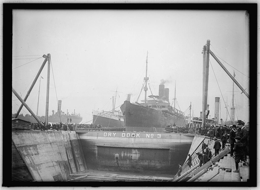 UNITED STATES NAVY. EITEL FRIEDRICH, GERMAN SHIP TAKEN OVER BY U.S.; IN DRY DOCK