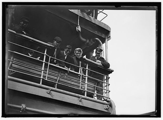 UNITED STATES NAVY. EITEL FRIEDRICH, GERMAN SHIP TAKEN OVER BY U.S.; SCENES ON DECK, ETC.