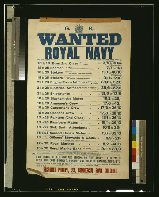 Wanted - Royal Navy / printed for His Majesty's Stationery Office by W.P. Griffith & Sons Ltd., Prujean Square, Old Bailey, London, E.C.