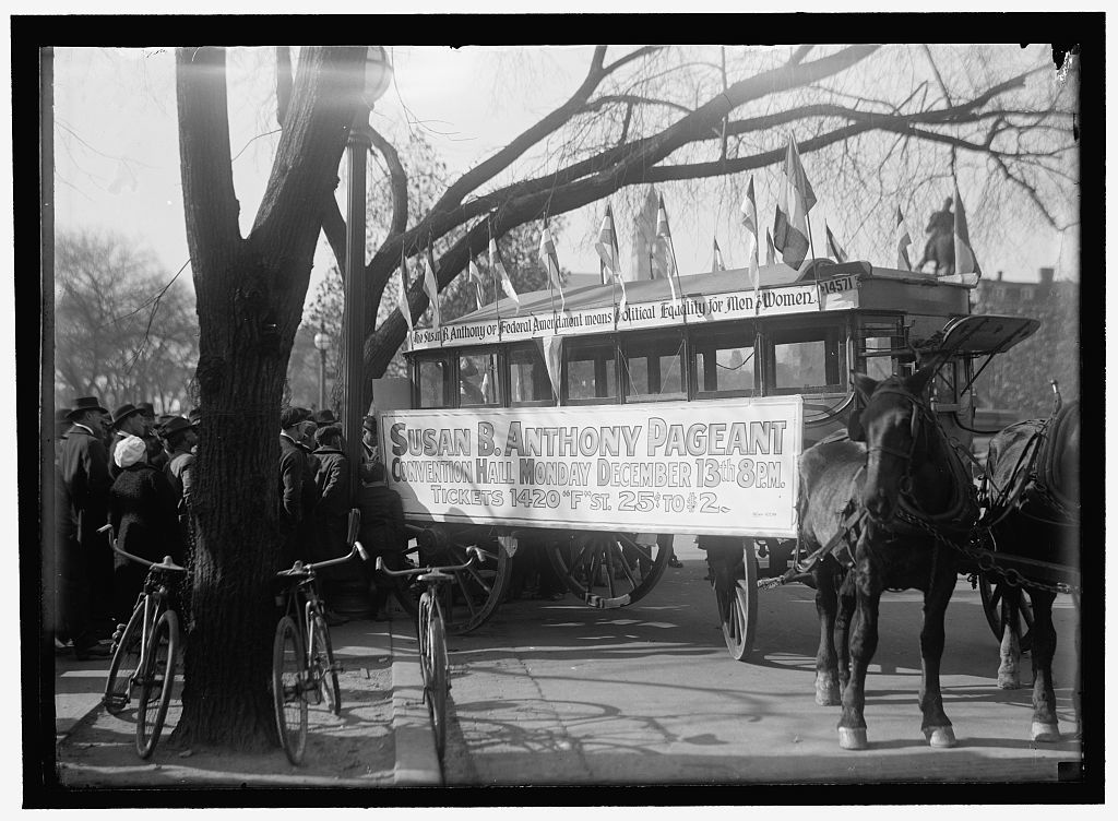 WOMAN SUFFRAGE. STREET CAR, SUSAN B. ANTHONY PAGEANT