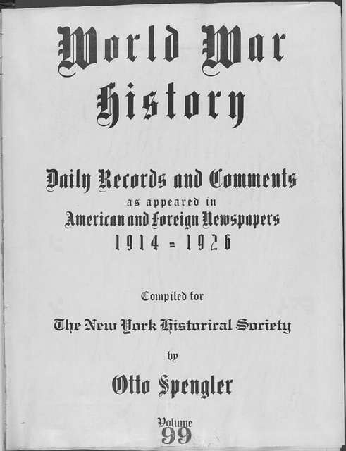 World War history : daily records and comments as appeared in American and foreign newspapers, 1914-1926 (New York), August 15, 1915, (1915 August 15-19)