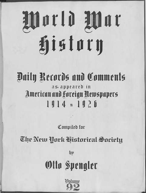 World War history : daily records and comments as appeared in American and foreign newspapers, 1914-1926 (New York), July 10, 1915, (1915 July 10-15)