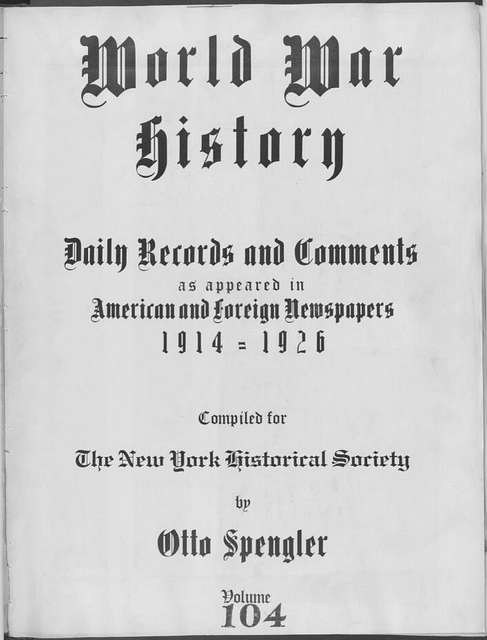 World War history : daily records and comments as appeared in American and foreign newspapers, 1914-1926 (New York), September 1, 1915, (1915 September 1- 5)