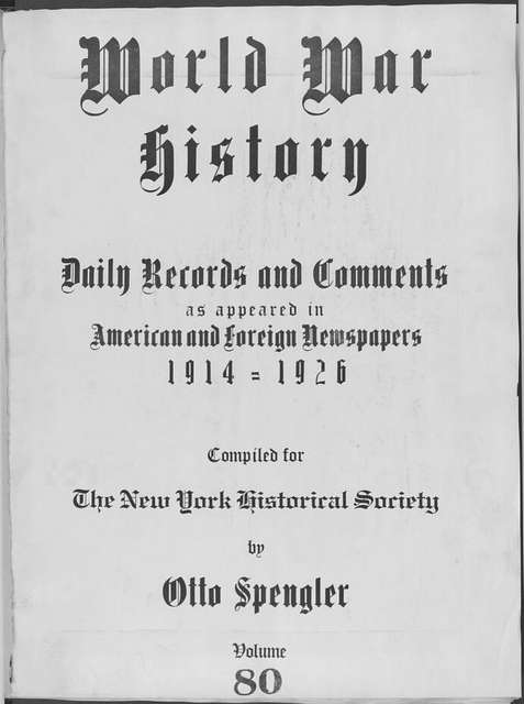 World War history : daily records and comments as appeared in American and foreign newspapers, 1914-1926 (New York), May 22, 1915, (1915 May 22-26)