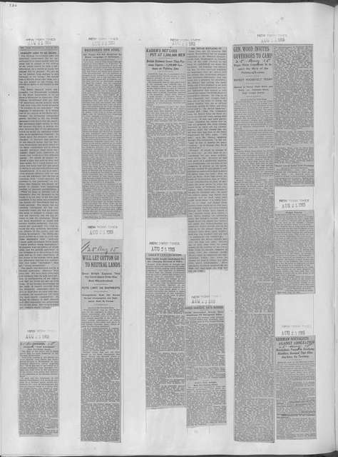 World War history : daily records and comments as appeared in American and foreign newspapers, 1914-1926 (New York), August 22, 1915, (1915 August 22-25)