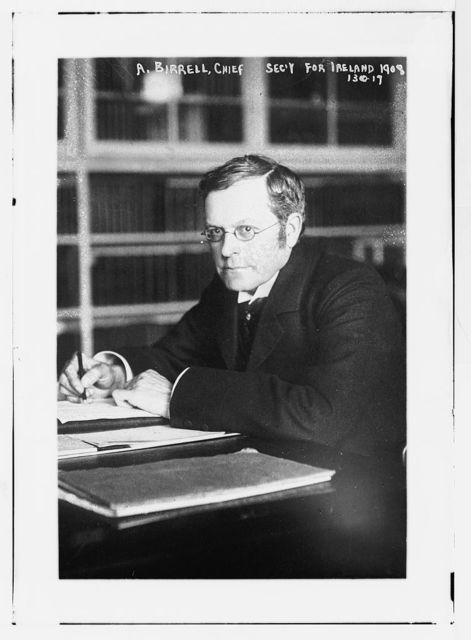 A. Birrell, Chief Sec'y for Ireland in 1908, at desk