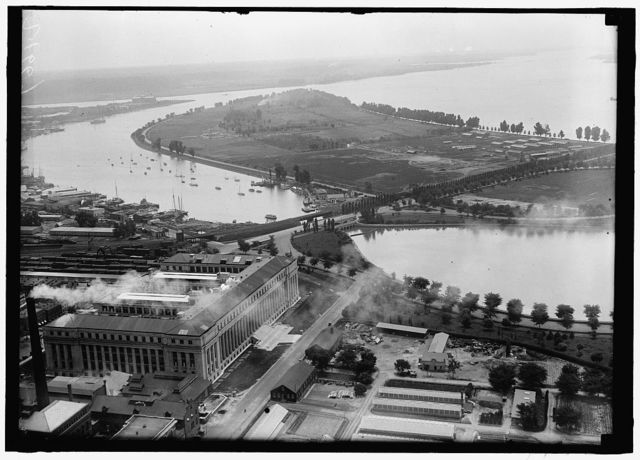 [Aerial view, Haines Point and Tidal Basin, with Bureau of Printing and Engraving in foreground, Washington, D.C.]