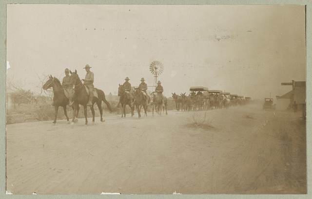 Ambulance Corps leaving Columbus, New Mex. for Mexico in search for Villa