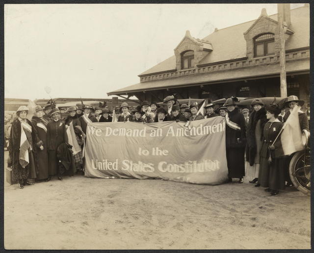 "Arrival of the ""Flying Squadron"" at Colorado Springs, Colo[rado]. ""Suffrage Special"""