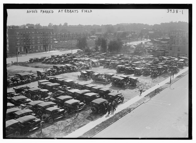 Auto's parked at Ebbets Field