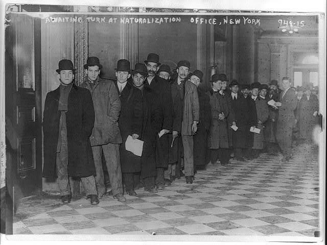 Awaiting turn at naturalization office, New York