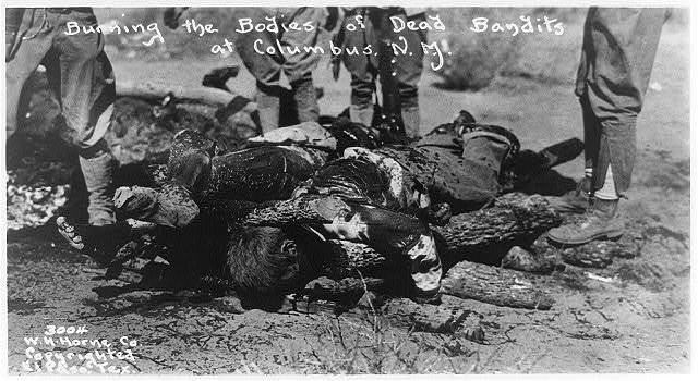 Burning the bodies of dead bandits at Columbus, N.M.