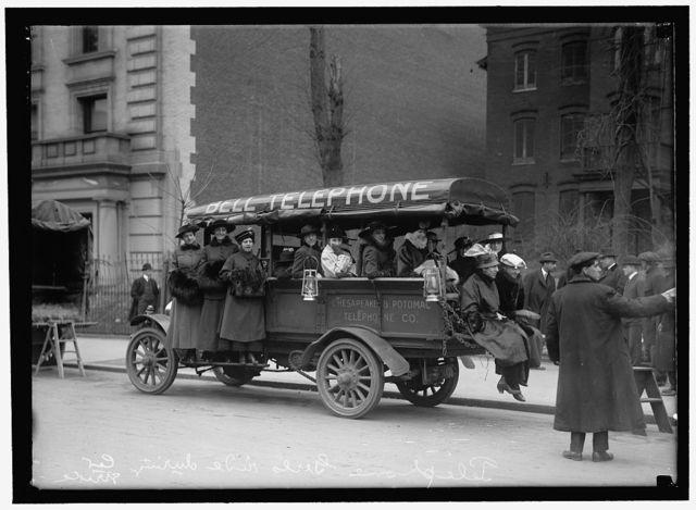 CHESAPEAKE & POTOMAC TELEPHONE CO. TRANSPORTING PHONE GIRLS IN TRUCKS DURING STRIKE