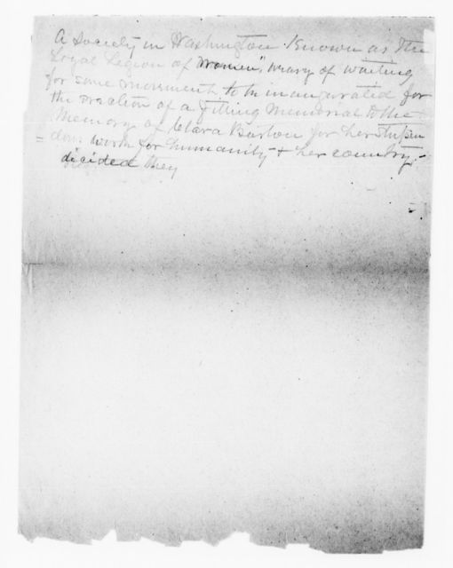 Clara Barton Papers: Miscellany, 1856-1957; Barton (Clara) Memorial Association; Resolutions and statements, 1916, undated