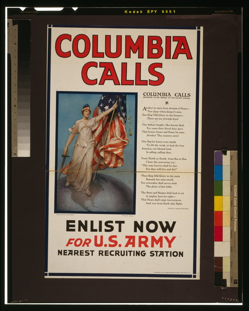 Columbia calls--Enlist now for U.S. Army / designed by Frances Adams Halsted ; painted by V. Aderente.