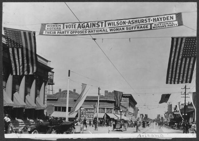 Controversial Party Banner in Tucson, Ariz[ona], 1916