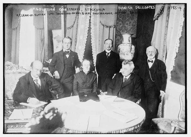 Danish Delegates, Mediation Conference, Stockholm, A.F. Lamm, M. Klausen, Carl Thalbitzer, Henni & Olaf Forchhammer, Asfred Bajer