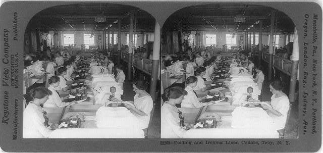 Folding and ironing linen collars, Troy, N.Y.