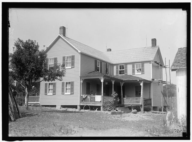 INDIAN HEAD, MD. NAVY PROVING GROUND. RESIDENCE OF GEORGE SWANN, DAMAGED BY 16' SHELL THAT HIT ANOTHER IN SANDBANK, AND WAS DEFLECTED OVER COUNTRYAT 3/4 ANGLE