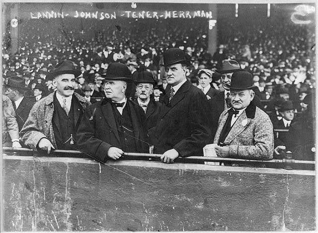 Joseph J. Lannin, Byron Bancroft Johnson, John Kinley Tener, August (Garry) Herrmann - baseball magnates at Boston game. Oct. 9, 1916