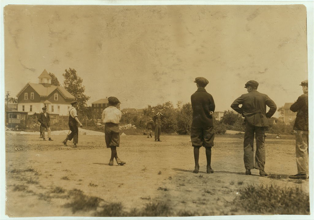Kerr Thread Ball field at noon hour. See 4212.  Location: Fall River, Massachusetts / Lewis W. Hine.