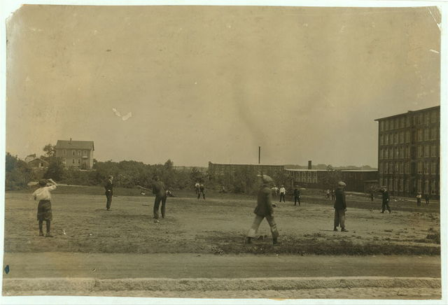 [Kerr Thread. Young workers on Ball Ground at noon. Two leagues - Junior and Senior.]  Location: [Fall River, Massachusetts] / Lewis W. Hine.