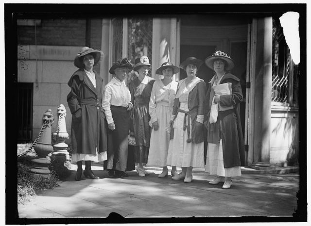 Left to right: Mrs. W. Watson, Miss Lavena[?] Dock, Miss Catherine Flanagan, Miss Edna Dixon, Miss Natalie Gray[?], Miss Lucy Ewing