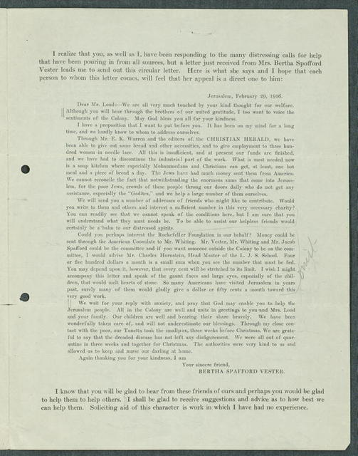Letter from Edward F. Loud to Friends of the American Colony in Jerusalem (contains copies of various earlier correspondence)