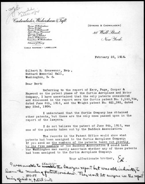 Letter from Edwin Grosvenor to Gilbert Grosvenor, February 25, 1916