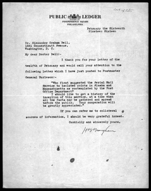 Letter from H.B. Brougham to Alexander Graham Bell, February 16, 1916
