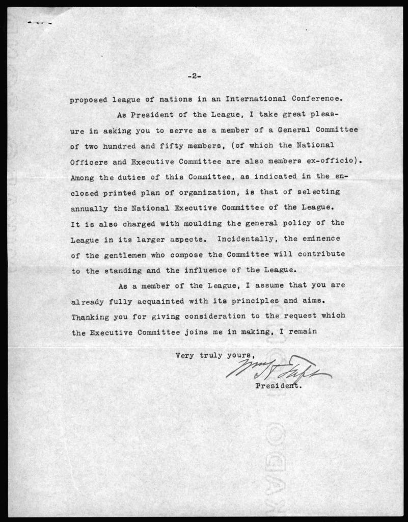 Letter from William Howard Taft to Alexander Graham Bell, January 17, 1916