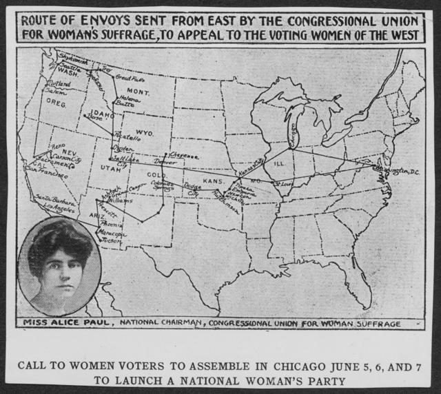 [Map of] Route of Envoys Sent from East by the Congressional Union for Woman's Suffrage, to Appeal the Voting Women of the West [with inset portrait of Alice Paul]