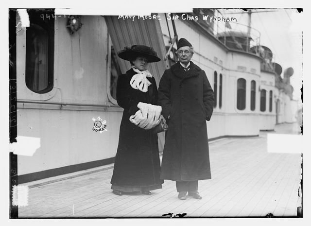 Mary Moore and Sir Chas. Whndham on boat deck