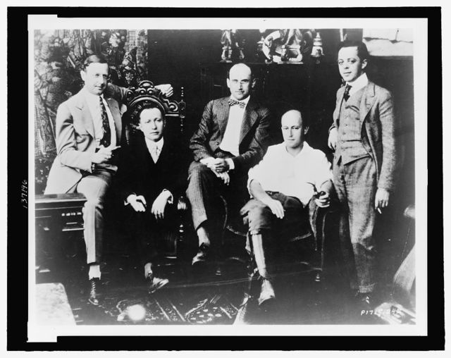 [Members of the Famous Players-Lasky Corporation: left to right: Jesse L. Lasky, Adolph Zukor, Samuel Goldwyn, Cecil B. DeMlle and Al Kaufman]